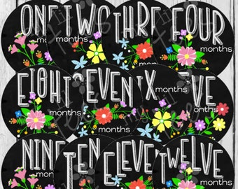 MONTHLY IRON ON Decals or Monthly stickers - 12 Monthly iron on heat transfers for Baby -Chalkboard Flowers Monthly Pack (Style#A36)