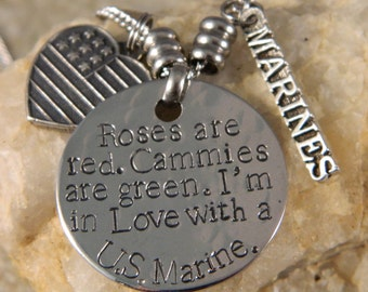 Roses are Red. Cammies are Green. I'm in Love with a US Marine Necklace/Keychain
