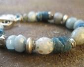 Labradorite Bracelet, Aquamarine Bracelet, African Trade Bead Bracelet, Apatite Bracelet, Chunky Bracelet, Blue Bracelet