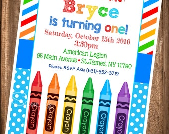 Crayon Birthday Invitation, Painting Party Birthday Invitation, PRINTABLE Paint Party Invites, Crayola Party, Digital Painting Invitations