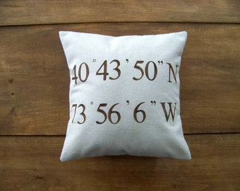 free shipping - personalized coordinates pillow cover -  brown - custom - wedding - gift idea - cushion cover - personalized gift - GPS