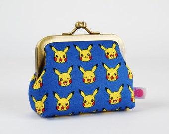 Metal frame change purse - Pikachu on blue - Deep mum / Pokemon fabric / yellow red blue