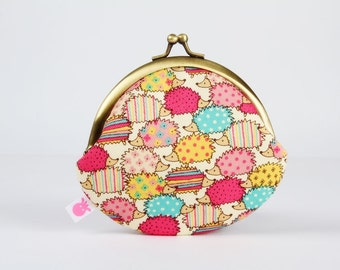 Metal frame coin purse - Sweet hedgehogs in pink and mint green - Daddy rounded purse / Kawaii japanese fabric / dots and stripes / yellow