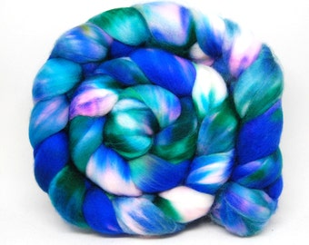 Handpainted Superfine Superwash Merino Wool Roving - Mykonos - 4 oz Blue Pink Purple
