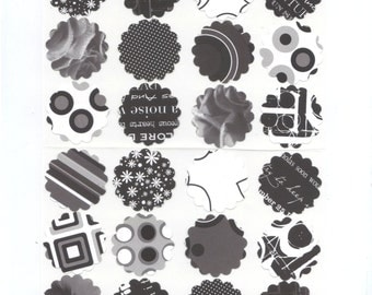 Black and White Assorted Scallop Envelope Seals Stickers (24) 1.5 inch