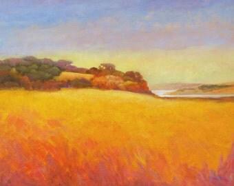 Golden Summer Field, Original Oil Painting, California Summer Landscape, Impressionist Art, Pacific Coast, Warm Colors, Oil Painting, 18 x24