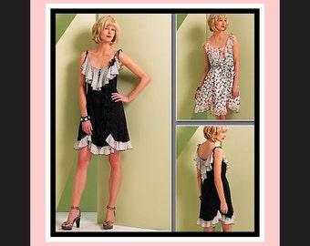 Flirty Party Dress-Vogue Designer Sewing Pattern-ANNA SUI ORIGINAL- Feminine Frills-Ruffles & Flounce-Princess Seams- Uncut-Size 6-12-Rare