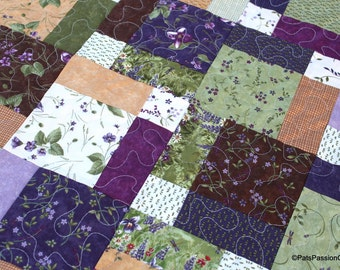 Quilted Table Topper, Quilted Table Runner, Green Purple Floral