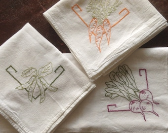 Vintage Embroidered Muslin Small Tablecloth, Embroidered Carrots, Embroidered Vegetables, possible kitchen curtains