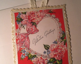 Paper Valentine Greeting Card with Envelope Mailable Valentine with Ribbon Hanger