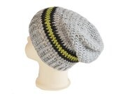 1T -  2T Boys Slouch Beanie Hat,Charcoal,Green and Grey Crochet Hat