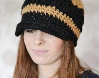 Chunky Newsboy Hat, Baker Boy Hat, Womens Peaked Hat, Uk Winter Hat, Black Hat