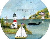Whale in the Cove - Sailors Valentine center - Giclee Print