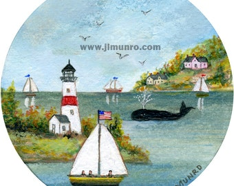 Sailors Valentine Center - Giclee print - Whale in the Cove
