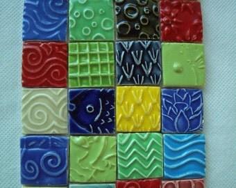 Q24 - COLORFUL Stamped SQUARES - Ceramic Mosaic Tiles