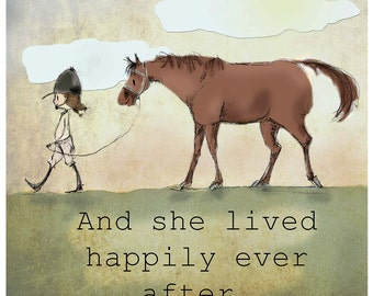 Chestnut happily ever after Hunter horse print