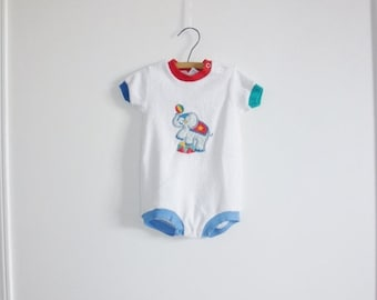 SALE // Vintage White Terry Cloth Baby Romper