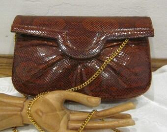 Vintage rusty brown snake skin handbag, small rich brown snake skin clutch bag, rust brown snake skin shoulder bag, exotic snake purse
