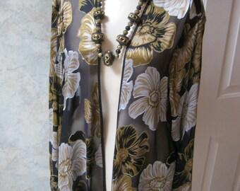Vintage sheer silk blend flowers kimono, black gold ivory scarf like buttonless top, sheer flowered summer silk kimono topper,