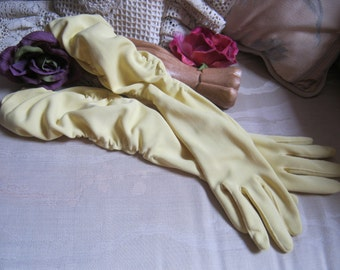 Vintage nylon stretch yellow high gloves, ruched nylon yellow tea party gloves, one size afternoon wedding yellow high gloves