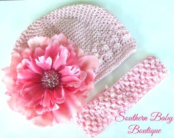 New Item---Boutique Baby Girl Crochet Cap Set with Rhinestone Peony Flower Clip---Pink Passion---Fits 0-12 Mths or 2-10 Years
