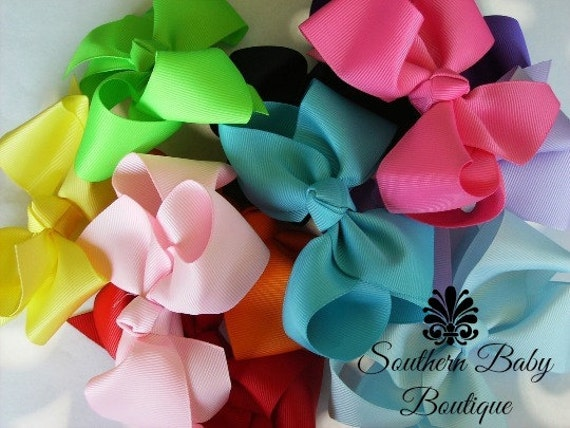SUMMER SALE----Boutique Baby Toddler Big Girl Hair Bows 4 Inch---You Pick 3---Sale Sale Sale