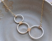 Silver and Gold combo 3 circle ring Necklace