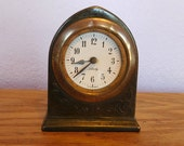 Antique Vintage Brass Liberty Wurttemberg Mechanical Desk Clock Gothic Style - Runs, Sort of Keeps Time - German Clock - Small Wind-up Clock
