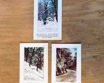Lot of 3 Vintage Christmas Postcard Greeting Cards Henry Heininger Co - 1920s Color Lithograph Snowy Nature Scenes - Fac-Simile Nature Views