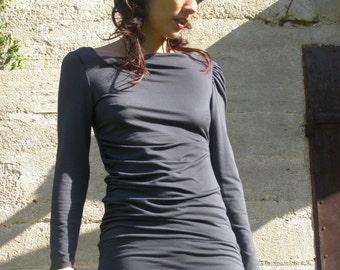 Grey tunic top-Elegant Shirred tunic/top-blouse -Plentiful Tunic for women-Long sleeve blouse-Winter clothing-womens blouse