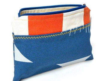 Bright orange and blue nautical cosmetic bag with custom stitching, make-up bag, gadget bag One of a Kind