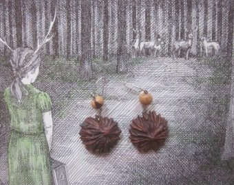 Vintage Earrings Dangly Nature Inspired Artist Made Walnut Shell