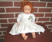 "Vintage 1930s Sweet 18"" Composition Doll with Bright Red Hair and Blue Sleep Eyes"