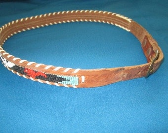 Vintage Beaded Tooled Leather Belt with Native American Indian Design