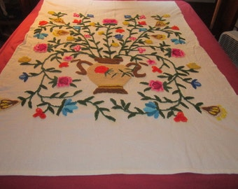 Vintage Colorful 50x73 Crewel Chinoserie Floral Embroidery Panel No.2