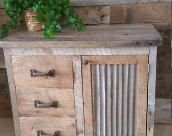 YOUR Custom Rustic Barn Wood Vanity or Cabinet with 3 Drawers FREE SHIPPING - BWV775CD
