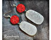Carved White Jade Earrings. PHOENIX Jade - Red Cinnabar Earrings. Gemstone Hand Carving. Fine Statement Jewelry.