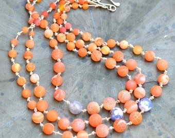 Fire Crab Agate Necklace. Orange Blue Sterling Silver Gemstone Necklaces. Frosted Fire Agate.  Leather Twigs Necklace.