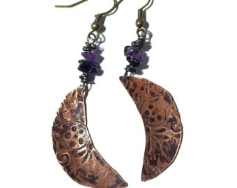 Etched Copper Crescent Moon Earrings