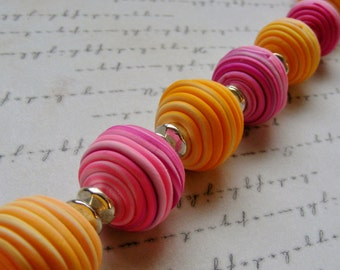 Spring Pastel-pink orange and yellow polymer clay bracelet, for 7 3/4 inch wrist