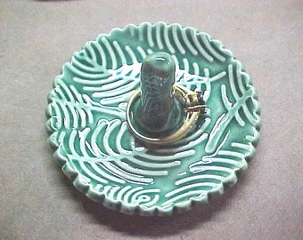 Pottery Ring Holder Dish, Emerald Green Ring Tree,  Fern or Feather Design  Handcrafted Porcelain