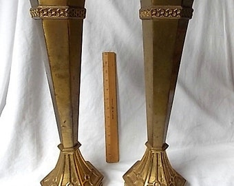 2 Tall Vintage Art Deco Brass Vases Funeral Home Grand Hotel Majestic Design