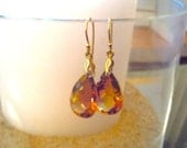 Ametrine and Leaf Bail 14K Gold Filled Earrings