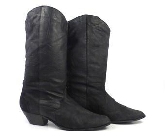 Women's Cowboy Boots Vintage 1980s Black Slouch size 8 1/2 M