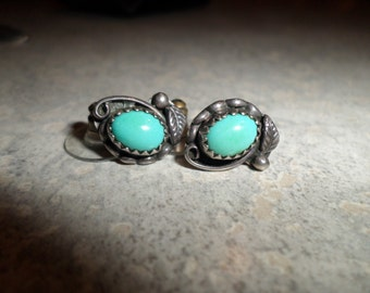 Turquoise & sterling silver Native American EARRINGS robin egg blue silver feather leaf SC STERLING
