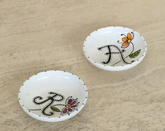 Hand painted porcelain custom monogrammed small catch all dish