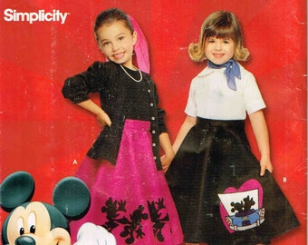 Circular Skirt Disney Mickey Mouse Applique Halloween Costume Sewing Pattern Girls Simplicity 9431 0622 Child Size 2 3 4 5 6 Uncut