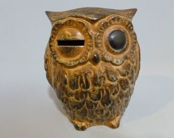 Vintage Pottery Winking Owl Bank