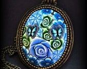 Blue & Green Pendant necklace, handmade one of a kind.