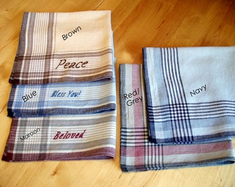 "15"" Hand embroidered plaid cotton hankie / pocket square with inspirational words - Peace, Bless You, A tesouhaits, Beloved, I love you....."